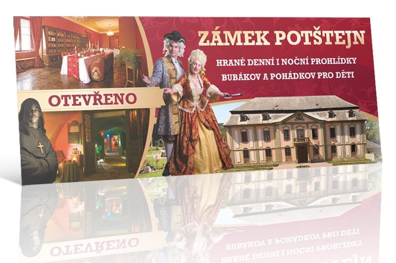 Reklamní plachy a reklamní bannery - zámek Potštejn.